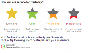 Stars for customer feedback