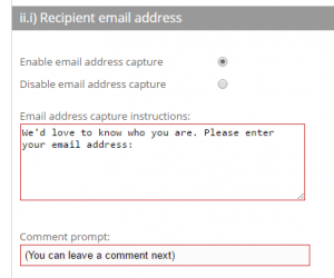 Email address prompt