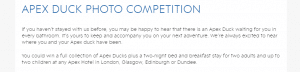 Apex hotel duck competition