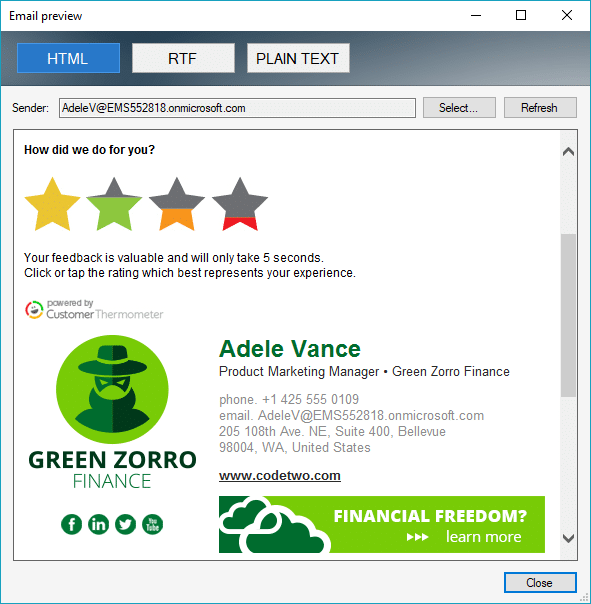 How did we do for you Green Zorro finance example