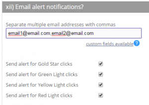 Email alerts customer support