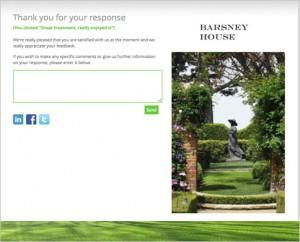 Example customer satisfaction survey landing page