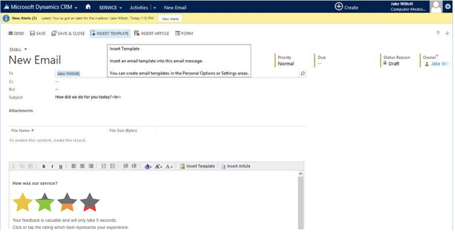 Microsoft Dynamics integration survey email template