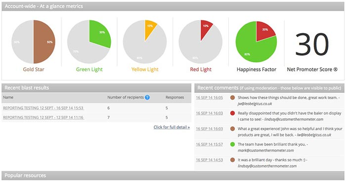 Measuring Net Promoter Score dashboard