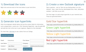 Download icons, create outlook signature, generate icon hyperlinks