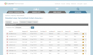 customer thermometer example reporting screen detailed view