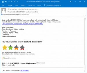 ServiceNow email feedback example