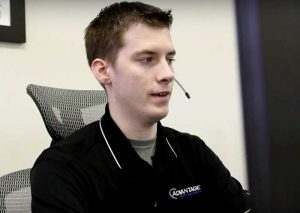 Young advantage support person with headset