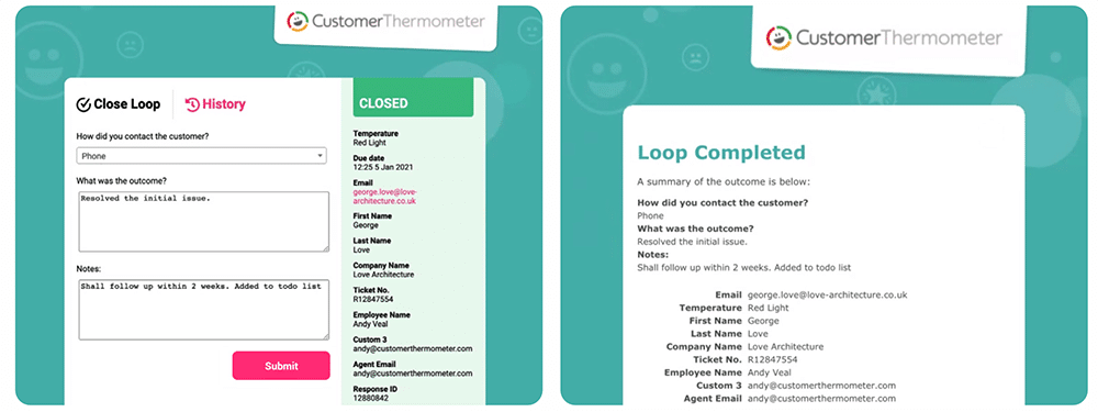Closed Loop Email Process Example template CSAT NPS