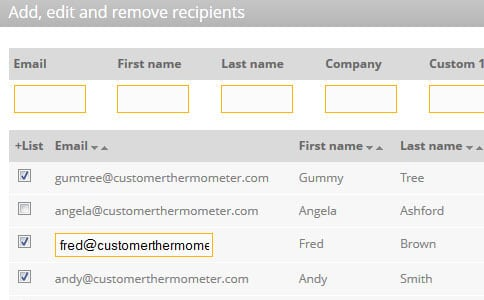 Email Thermometer feature tour create-list