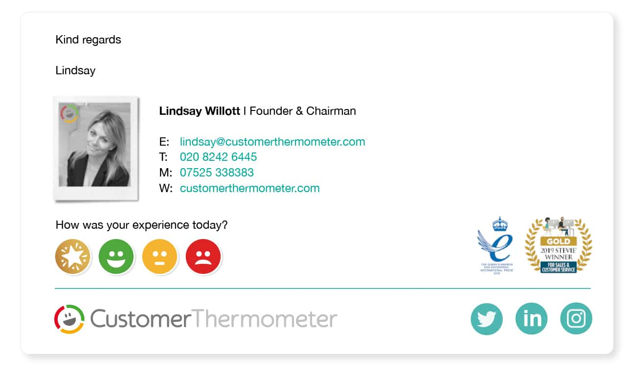 picture email signature example gain customer feedback