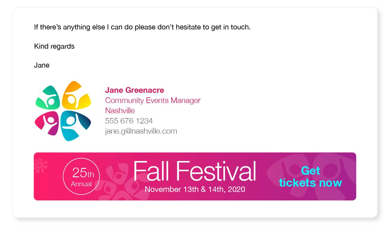 email signature advertising an event
