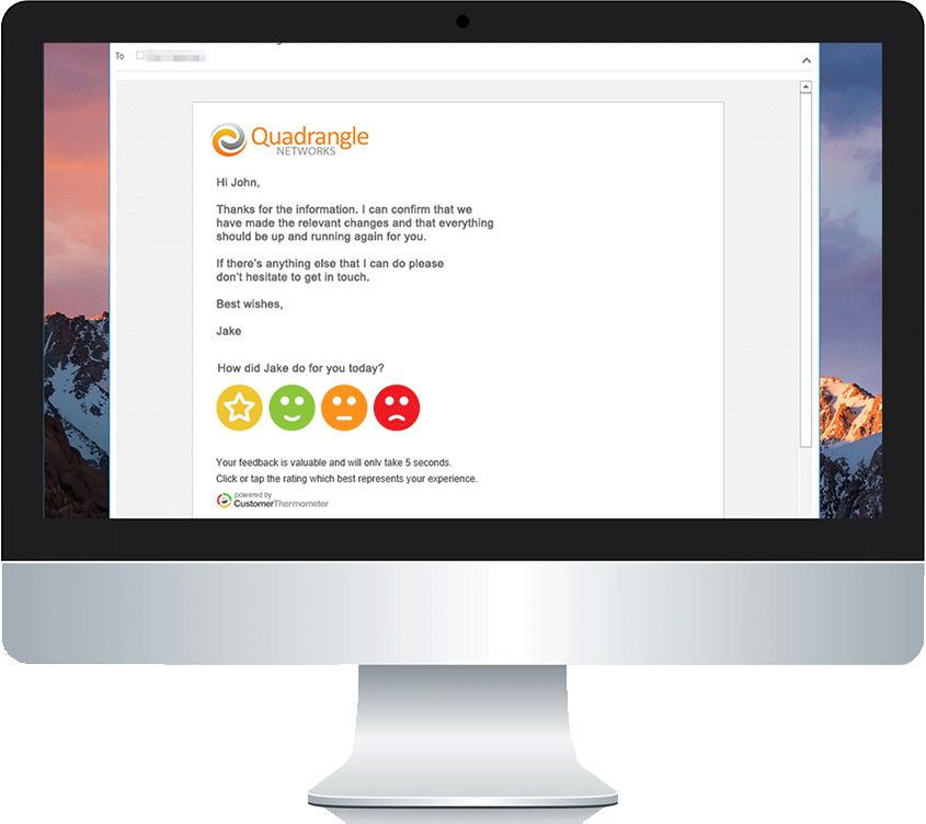embed customer satisfaction buttons in email