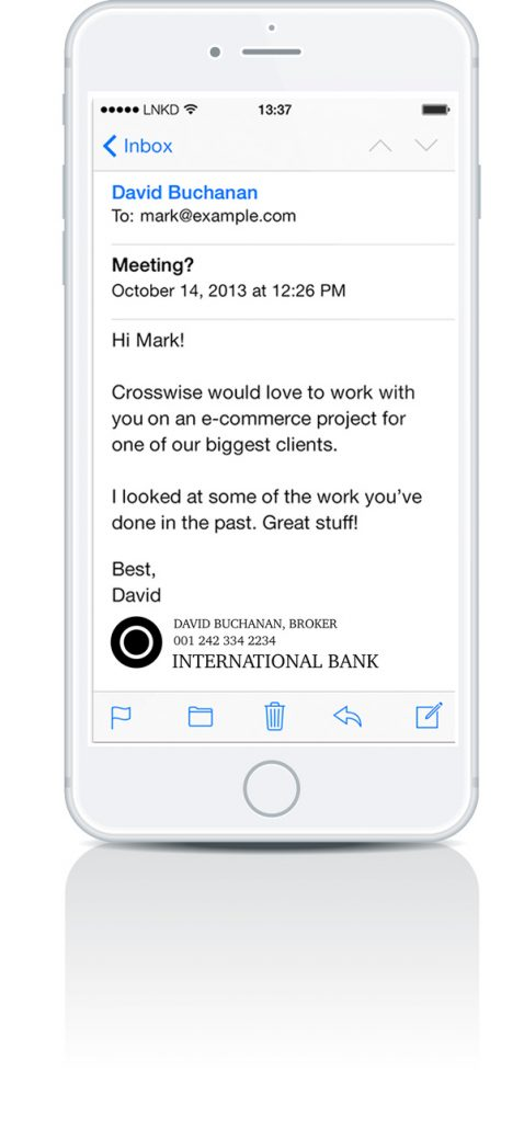 iPhone email signature example