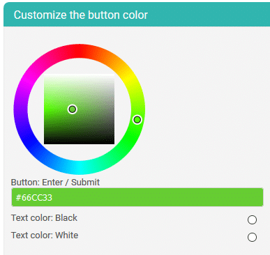landing page comment button color select
