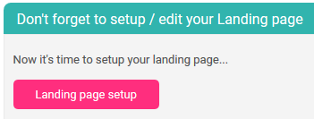 survey landing page setup button