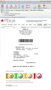 Macy's Receipts Concept with feedback option