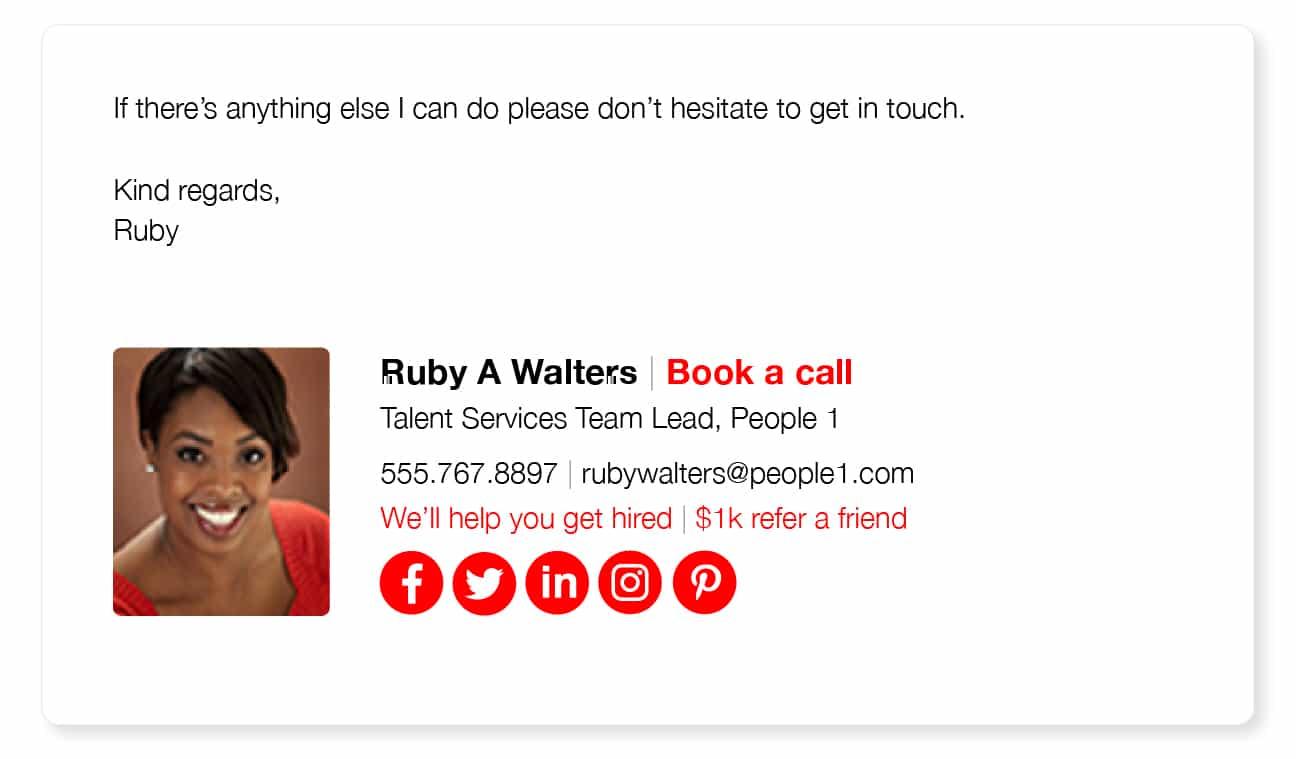 photograph recruiter email signature