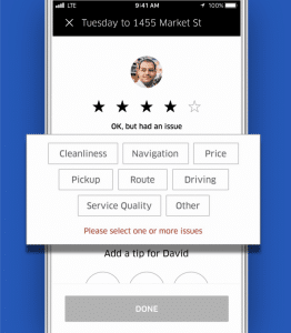 short customer survey example uber