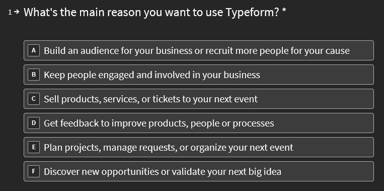 typeform free account