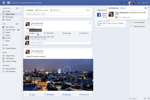 Sample Facebook newsfeed