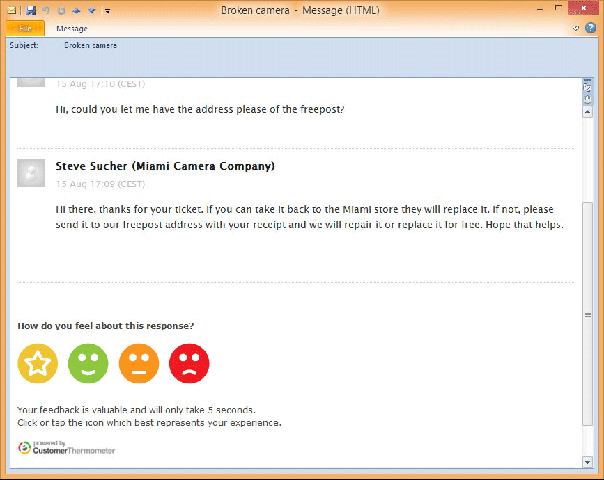Otrs survey feedback integrated surveys within your tickets for Customer support email template