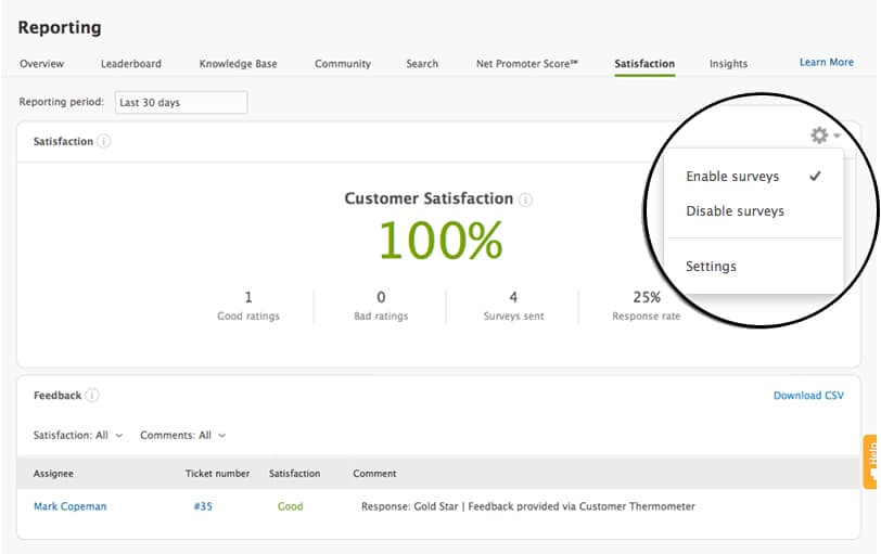 zendesk customer thermometer insights satisfaction report