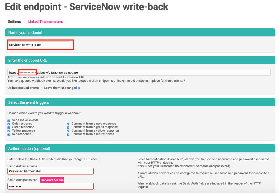 ServiceNow Customer Thermometer Writeback Endpoint URL