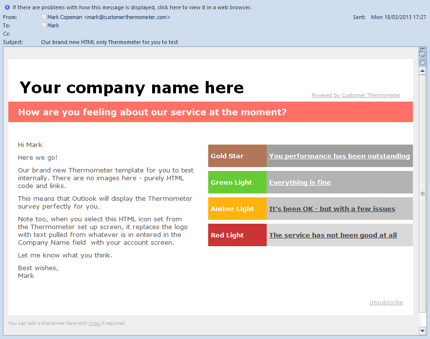 Designing surveys for microsoft outlook customer thermometer for Customer survey email template
